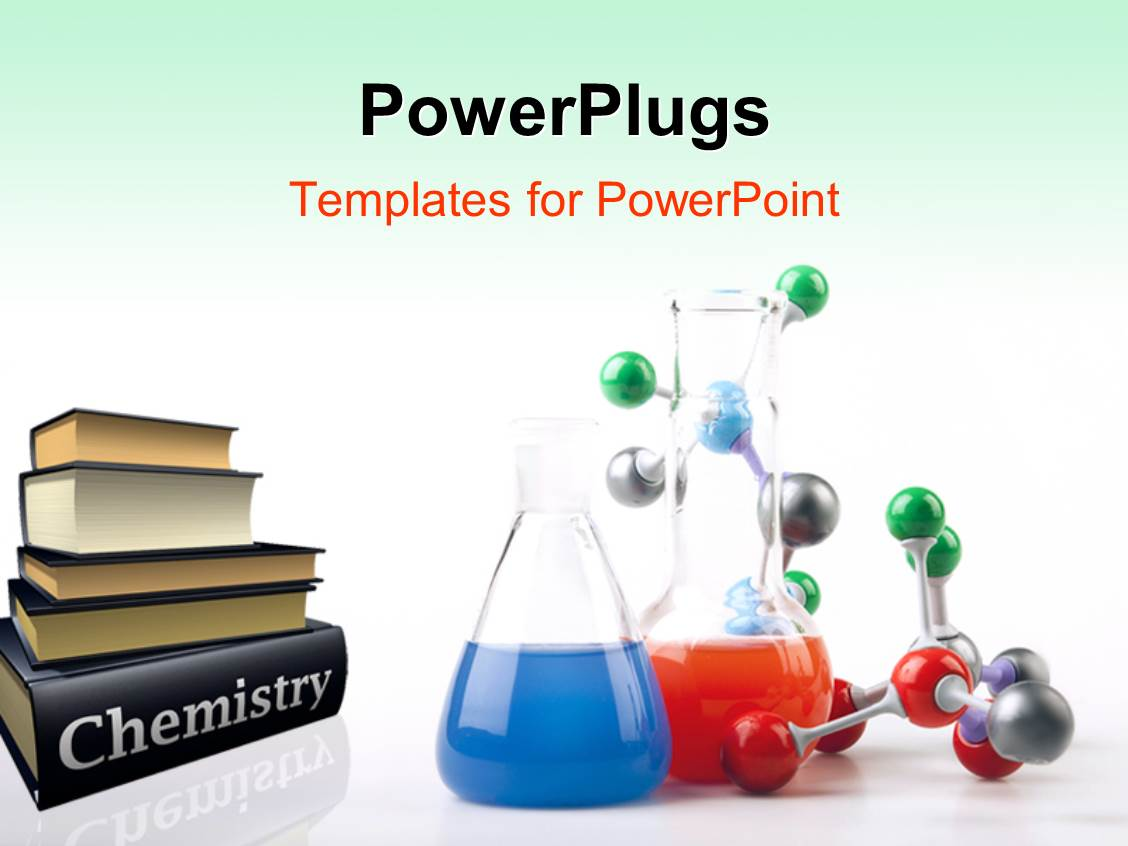 PowerPlugs: PowerPoint Template With Pile Of Chemistry Textbooks With  Colored Solutions In Beaker And Molecular ...