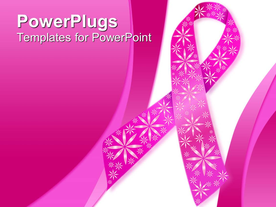 Powerpoint template pink breast cancer ribbon with for Breast cancer powerpoint presentation templates
