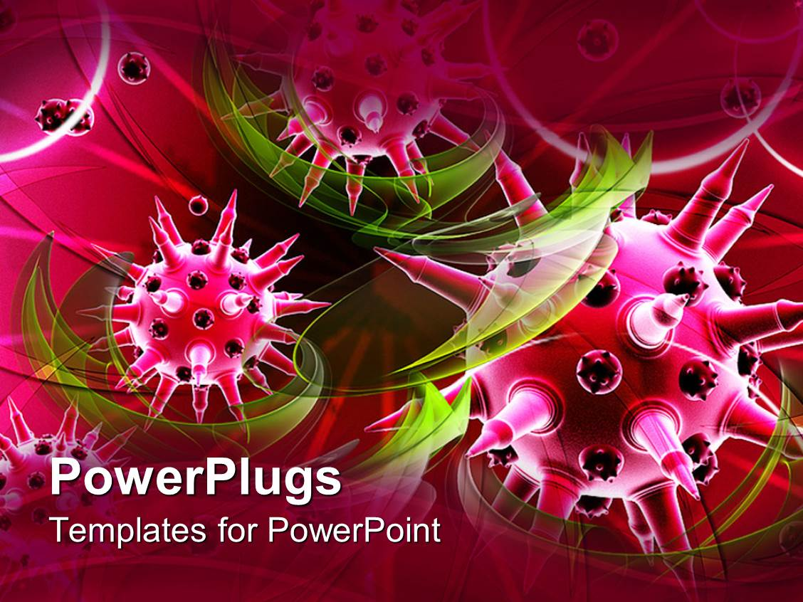 powerpoint template pink color shaped viruses with tint