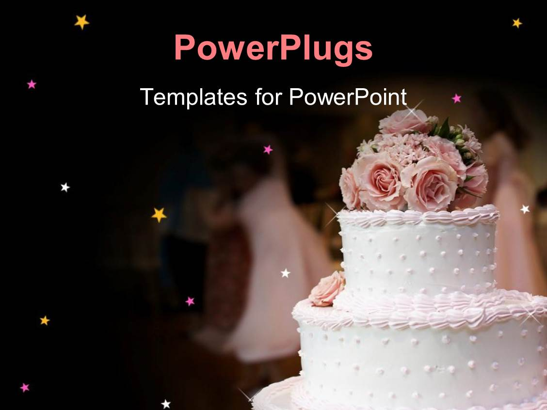 PowerPoint Template pink and white wedding cake with