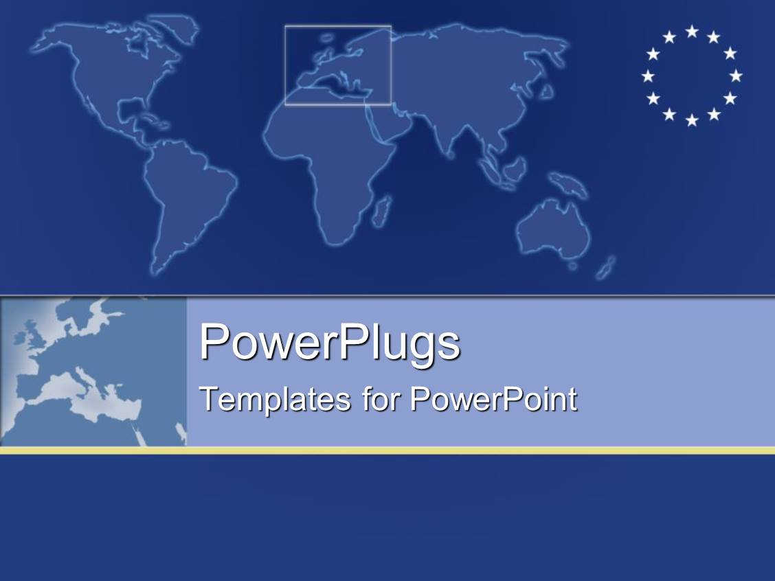 powerpoint template: plain map with european symbol with stars on, Modern powerpoint