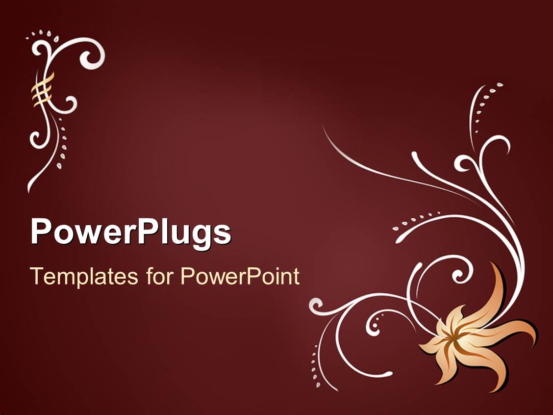 powerpoint template: a plain red colored display tile with flower, Powerpoint templates