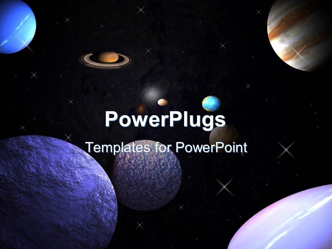 powerpoint template: planets in space with stars orbiting (30401), Powerpoint templates