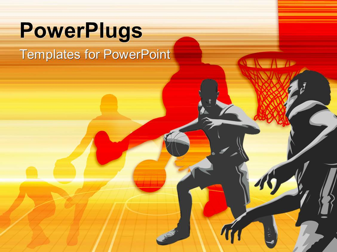 PowerPoint Template: Beautiful colored basketball flyer with ...