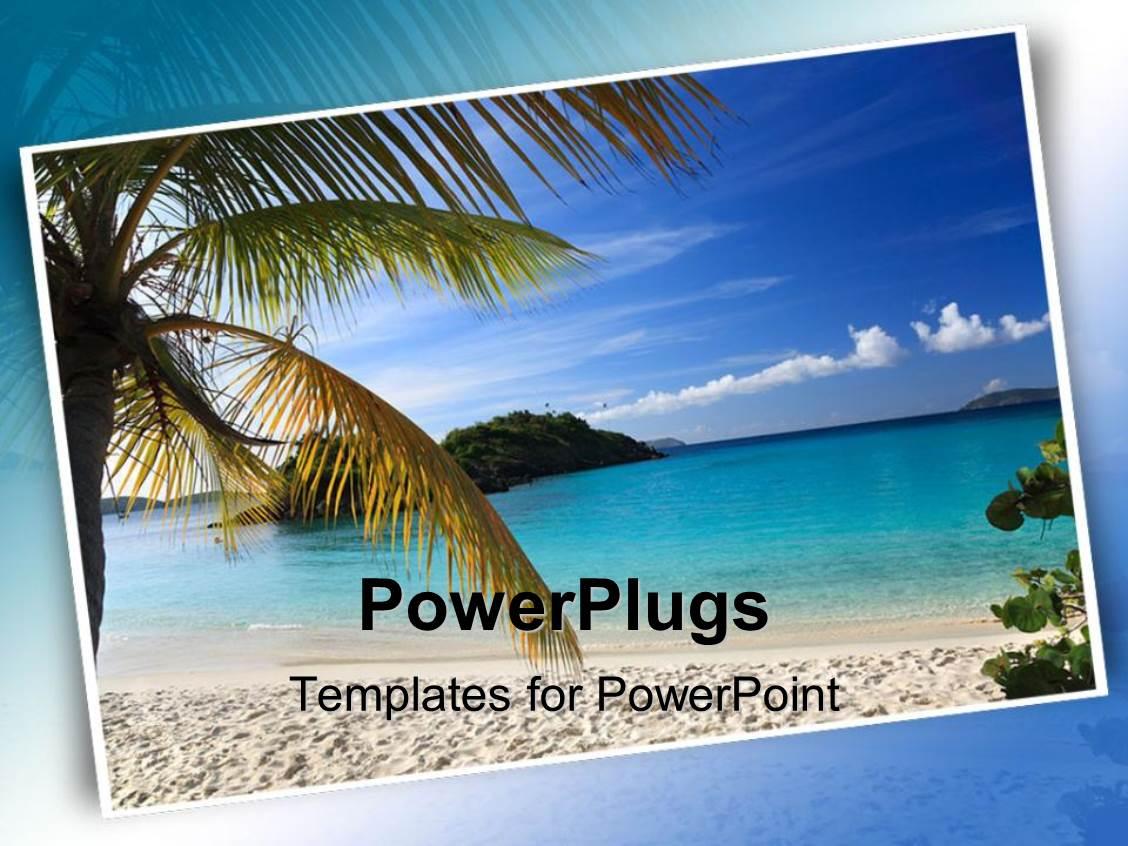powerpoint template postcard of beautiful beach scene