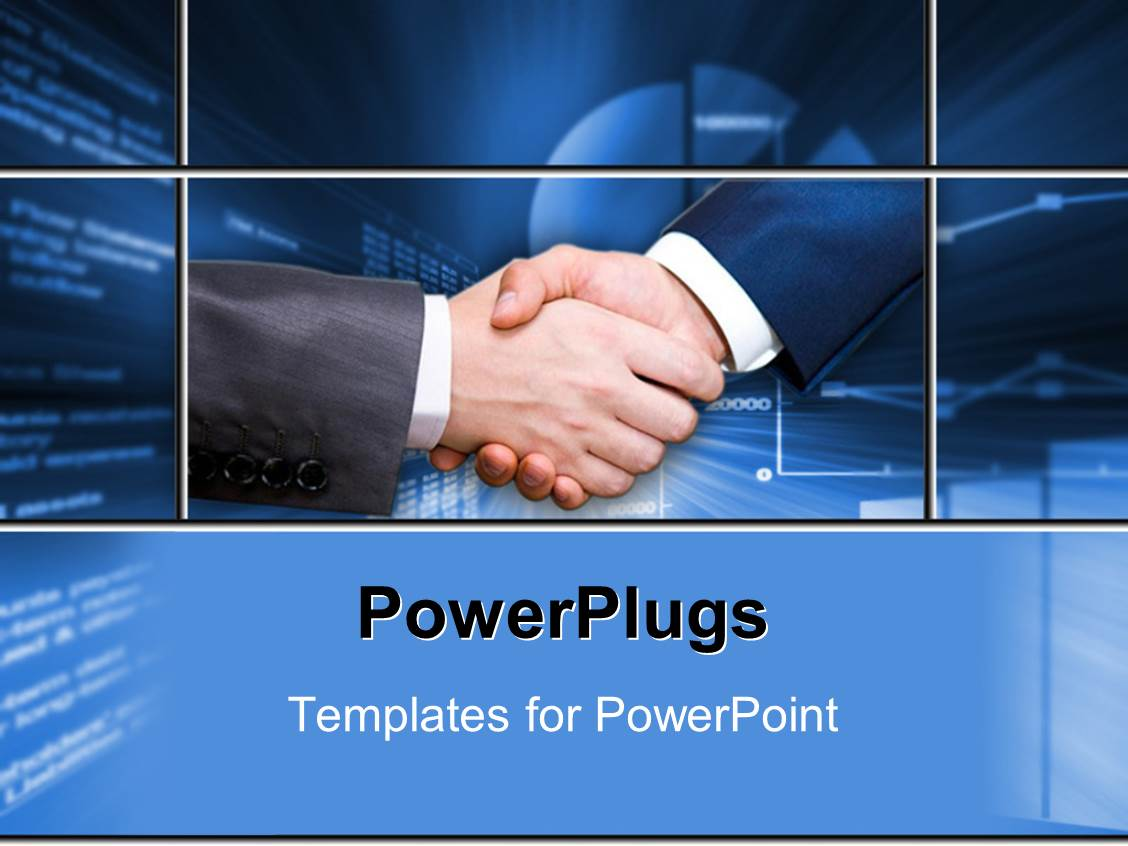 Powerpoint template a professional shake hand with bluish for Power plugs powerpoint templates