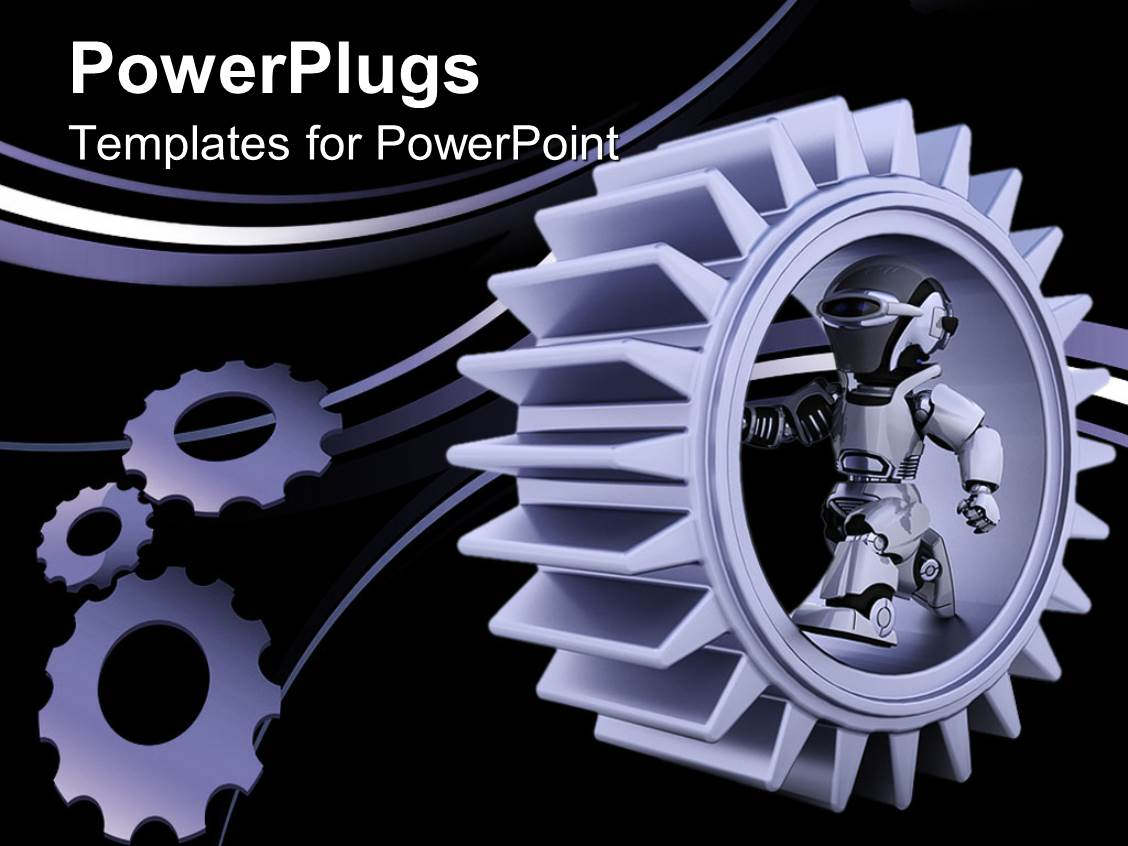 powerpoint template: purple gear mechanism with robot and bended, Powerpoint templates