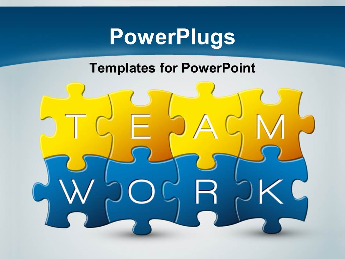 Powerpoint template puzzle with the keyword teamwork synced powerpoint template displaying puzzle with the keyword teamwork synced together with light blue color toneelgroepblik Choice Image
