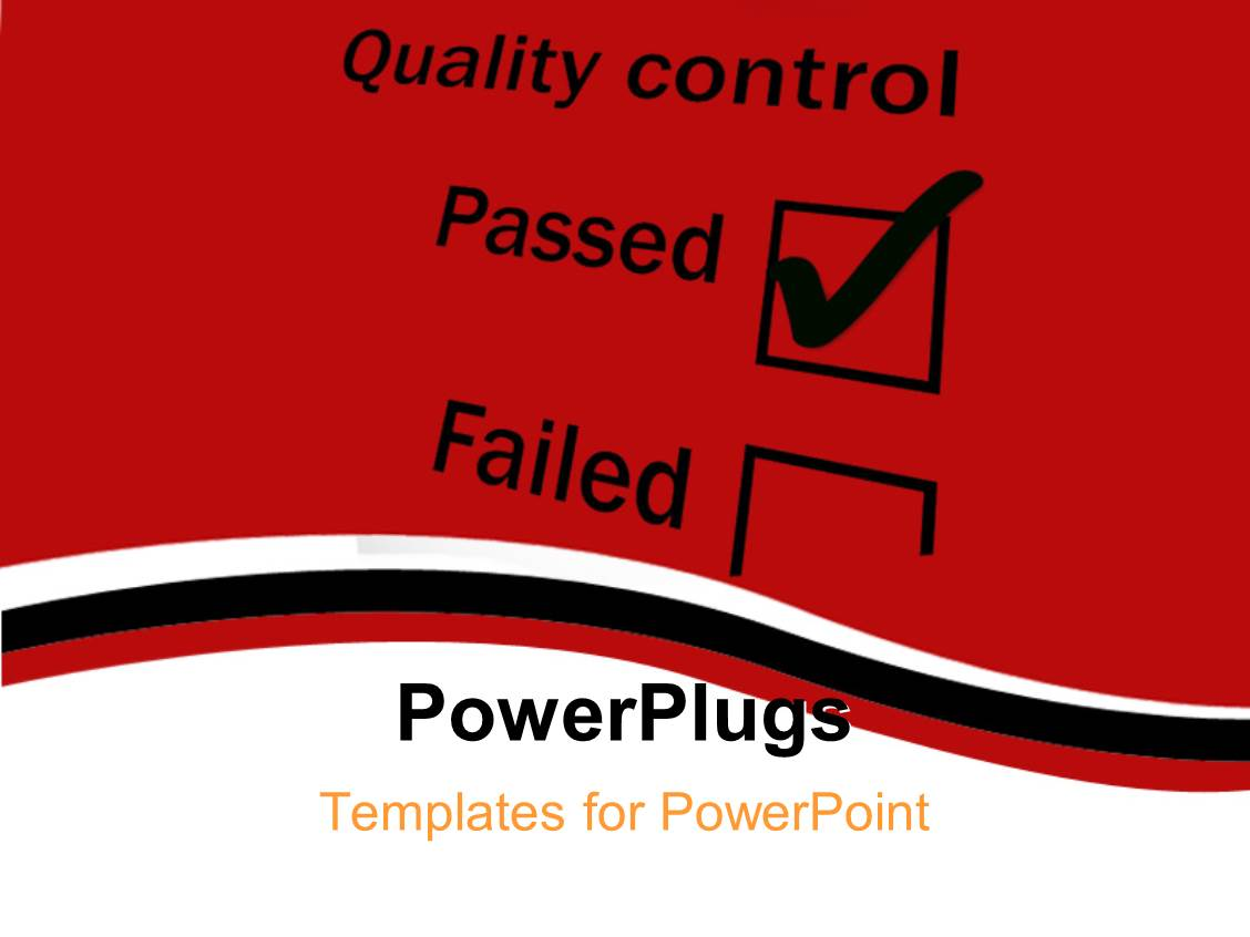 PowerPoint Template Displaying Quality Control Tick Box with Passed Ticked and Dark Red