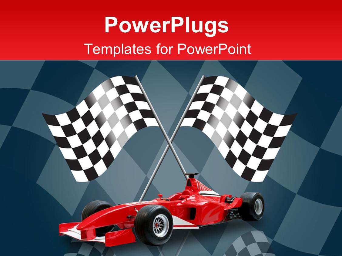 powerpoint template racing flags in background with red