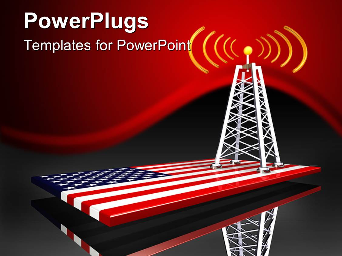 Powerpoint template radio tower along with american flag in the powerpoint template displaying radio tower along with american flag in the bottom toneelgroepblik Gallery