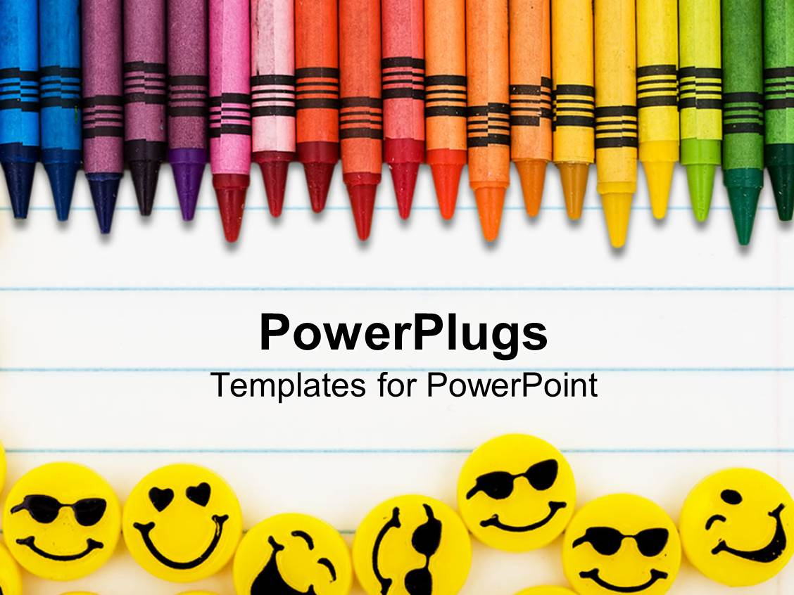 Crayons powerpoint templates crystalgraphics a powerpoint featuring rainbow color crayons and yellow erasers with faces on lined paper background template size toneelgroepblik Images