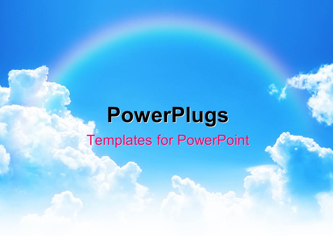 Powerpoint template rainbow theme 8833 beautiful powerpoint enhanced with rainbow linking two clouds on blue sky toneelgroepblik