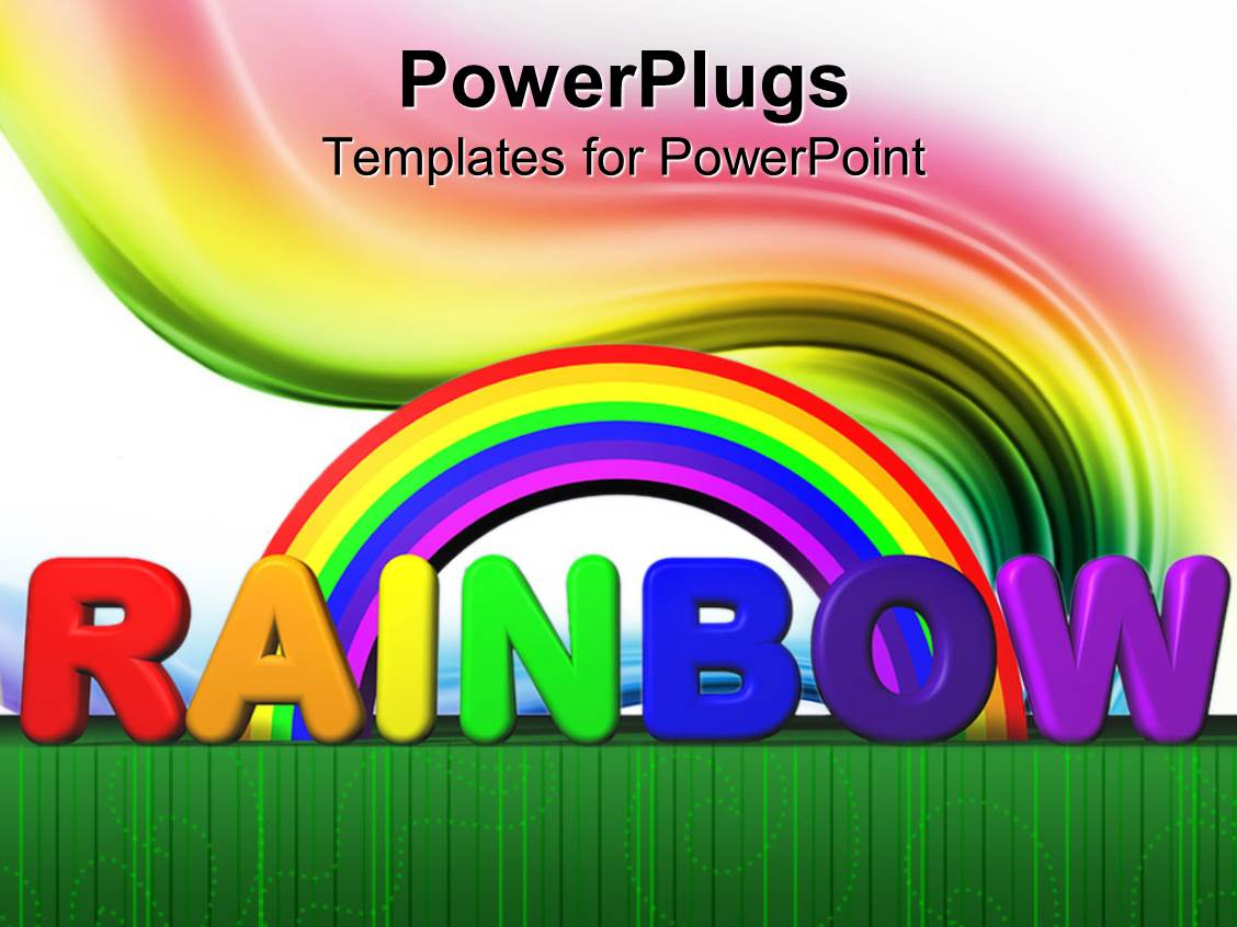 Rainbow powerpoint templates crystalgraphics theme having rainbow with text lettering colored swirl green line border white background template size toneelgroepblik