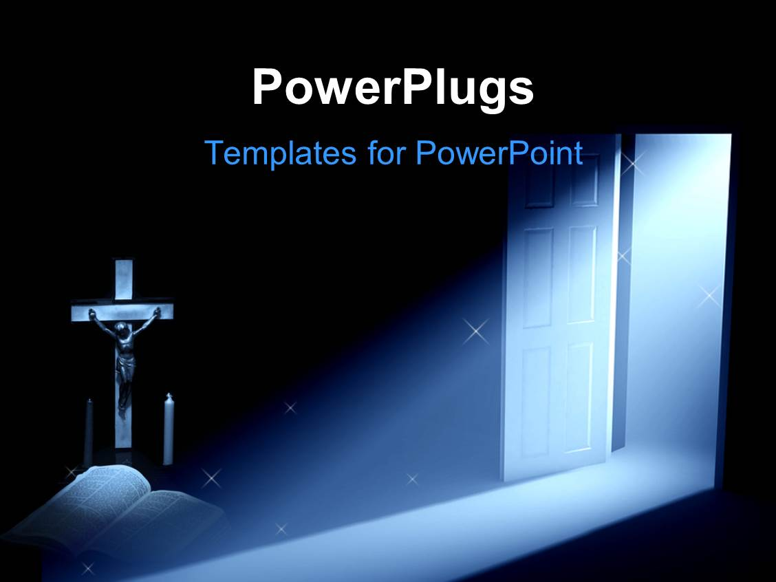 Powerpoint template a ray of light on a cross two for Power plugs powerpoint templates