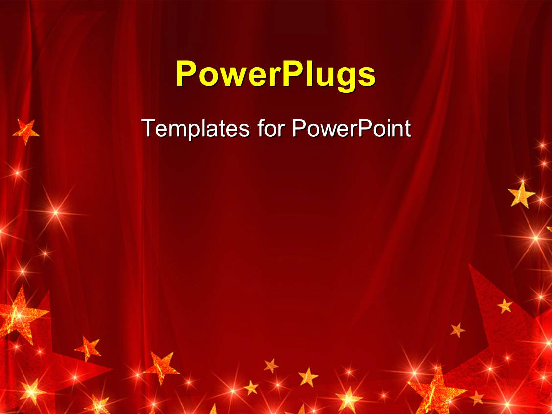 powerpoint template: red celebration background with glowing stars, Modern powerpoint