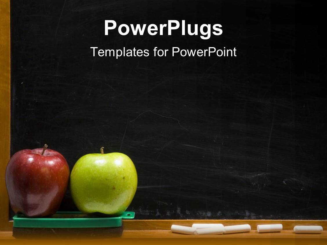 PowerPoint Template: red and green apples for teacher with black ...