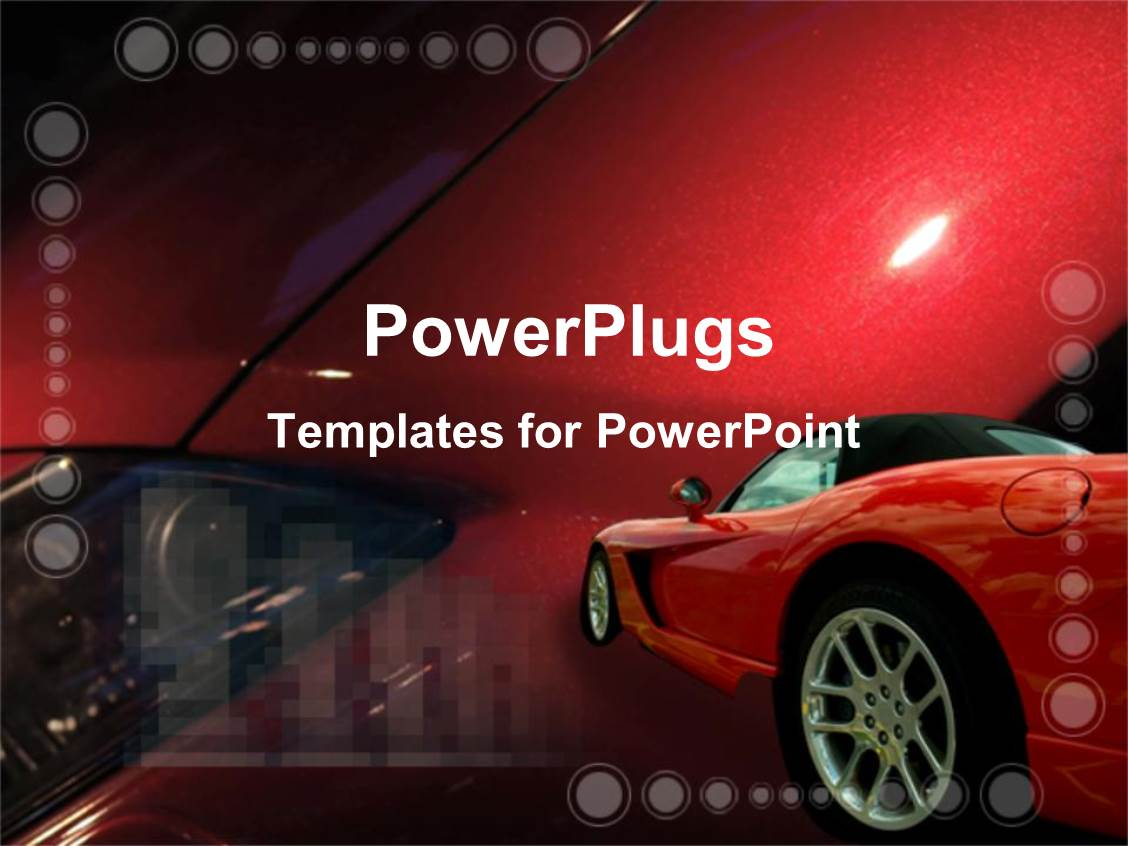 powerpoint template: red luxury car on colorful red background (8636), Presentation templates