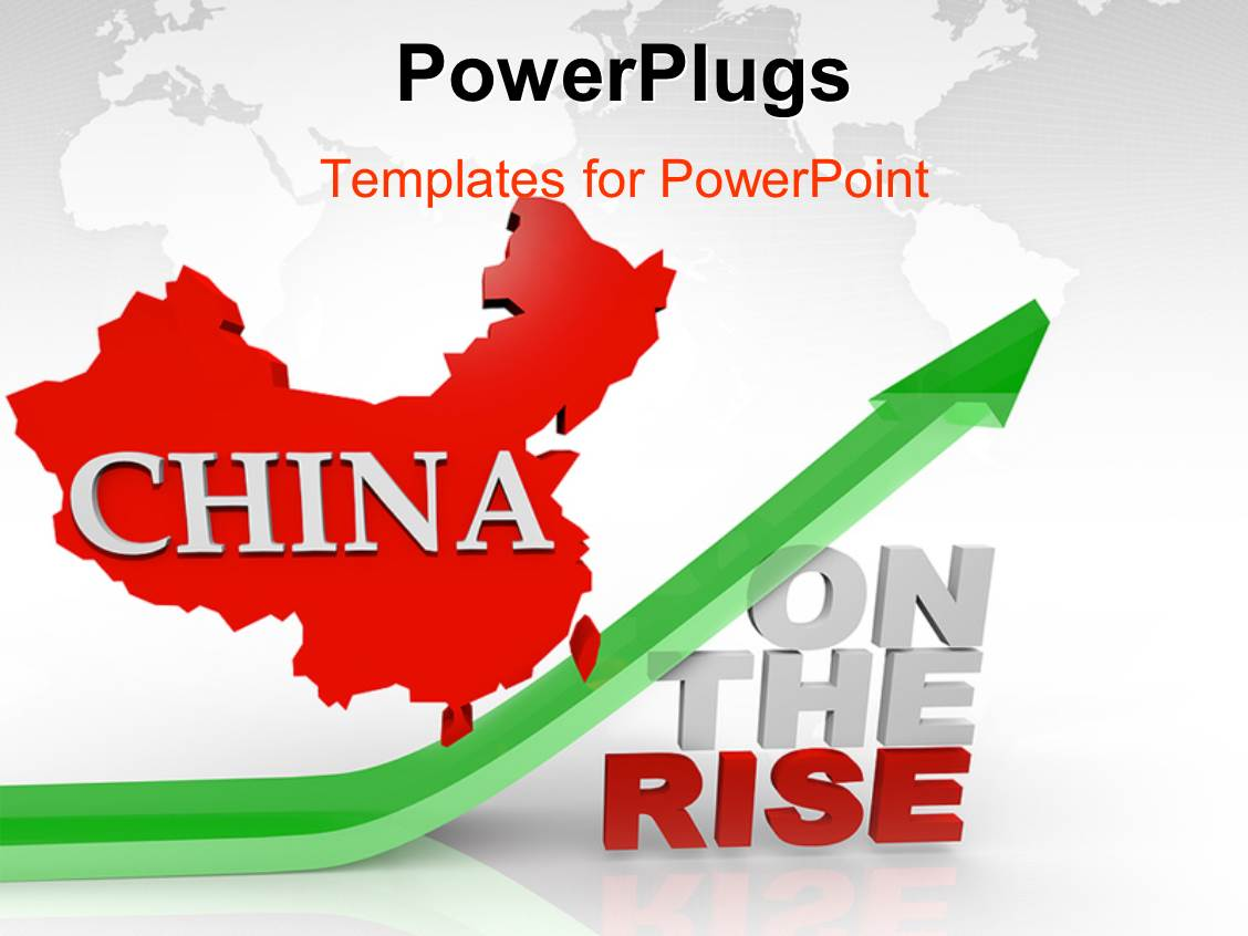 Powerpoint template red map of china above green arrow and words powerpoint template displaying red map of china above green arrow and words on the rise toneelgroepblik Image collections