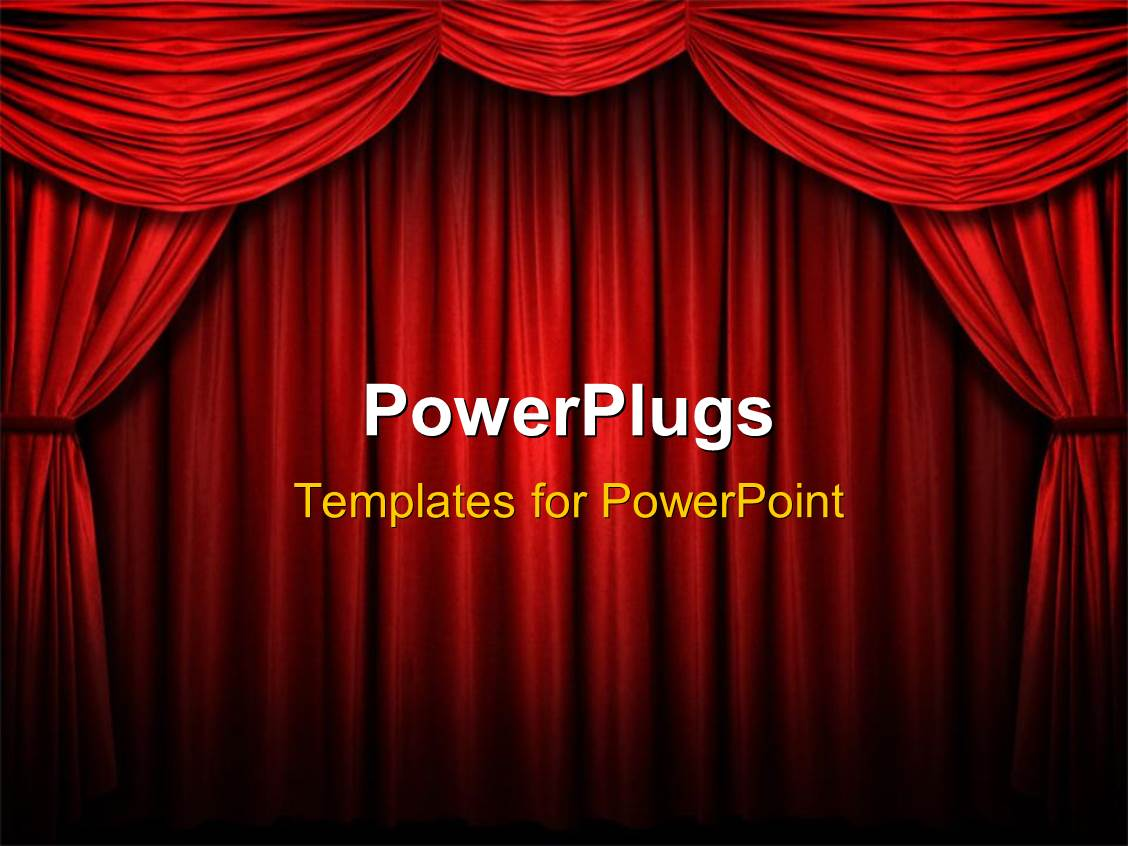 Red stage curtains - Powerpoint Template Displaying Red Stage Curtain With Arch Entrance With Selective Lights And Shadows