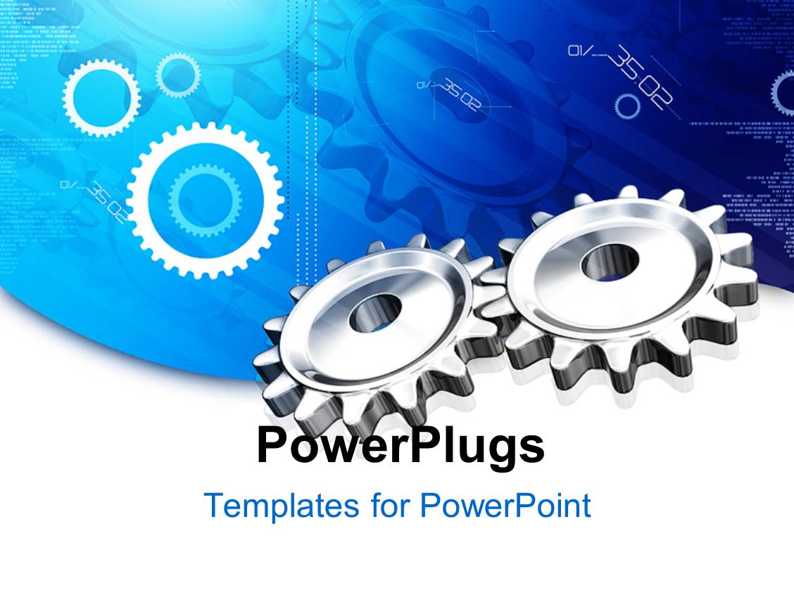 powerpoint template: mechanical gears for industry, industrial, Modern powerpoint