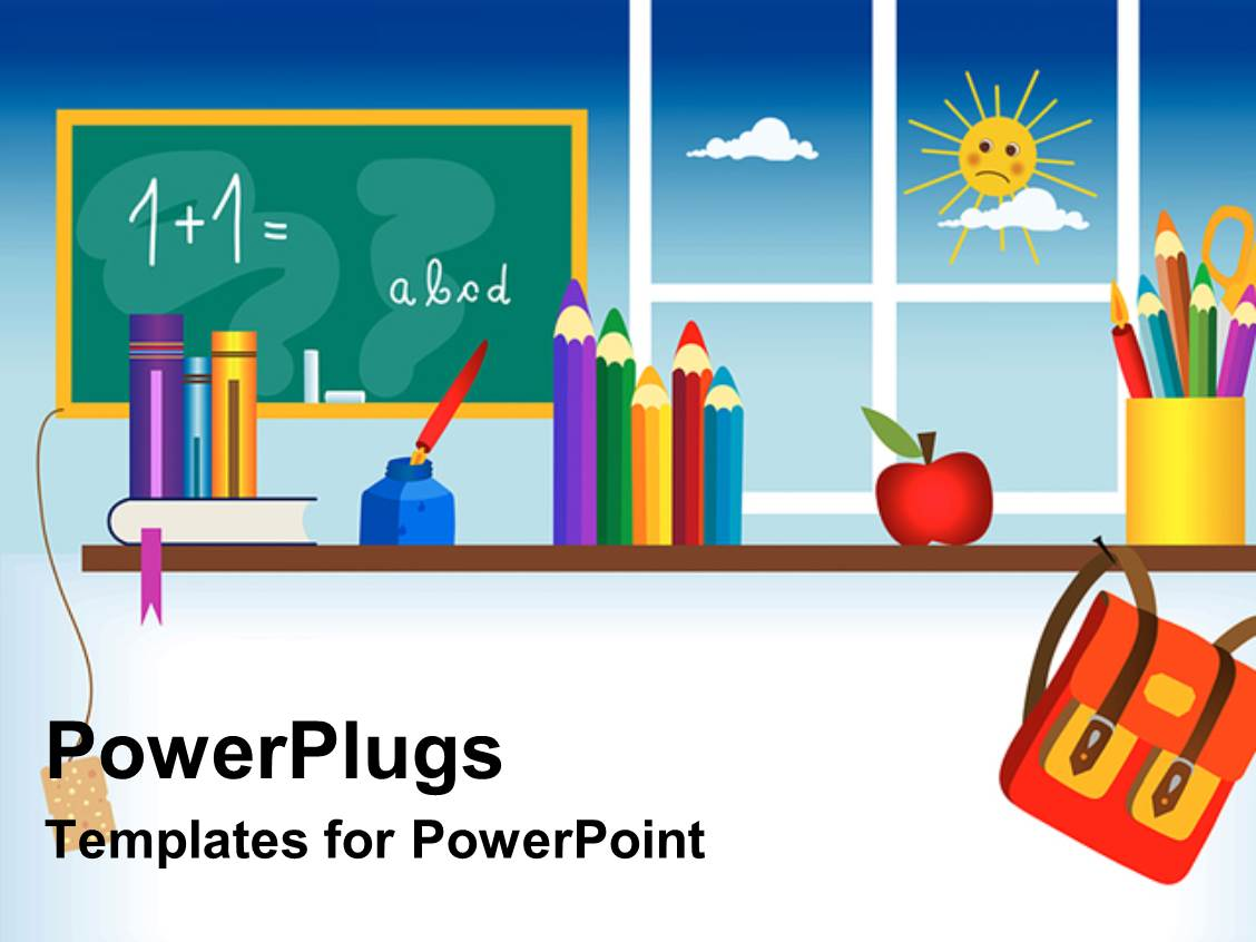 powerpoint template: a representation of a classroom with sun in, Modern powerpoint
