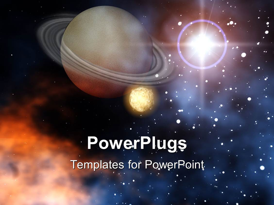 powerpoint template  ringed planet saturn with moon stars