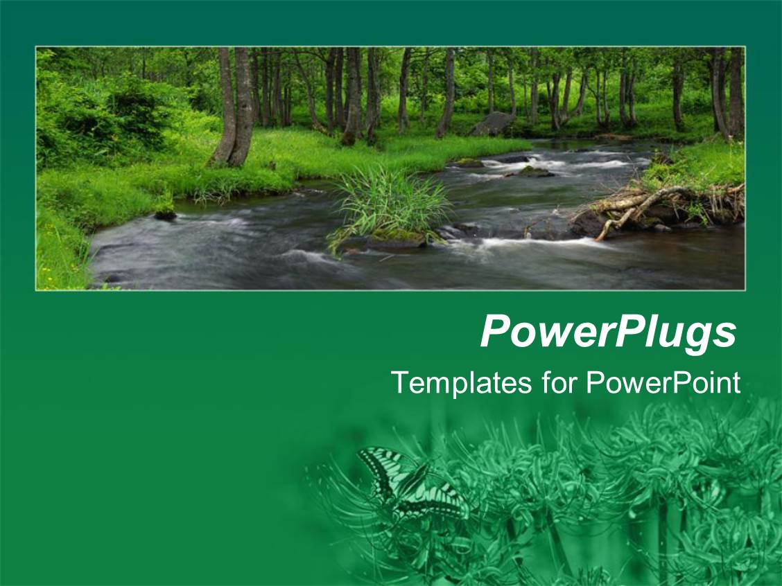 Wild powerpoint templates crystalgraphics beautiful ppt layouts with river flowing in middle of green forest with wild flower field template size toneelgroepblik Choice Image