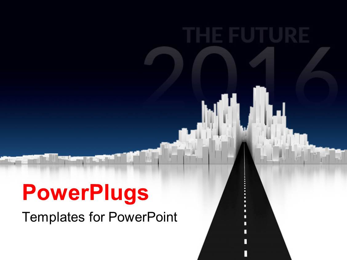 Powerpoint template road to cityscape the future of 2016 for Power plugs powerpoint templates