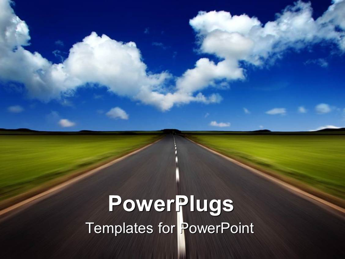 powerpoint template a road in the outskirts with clouds