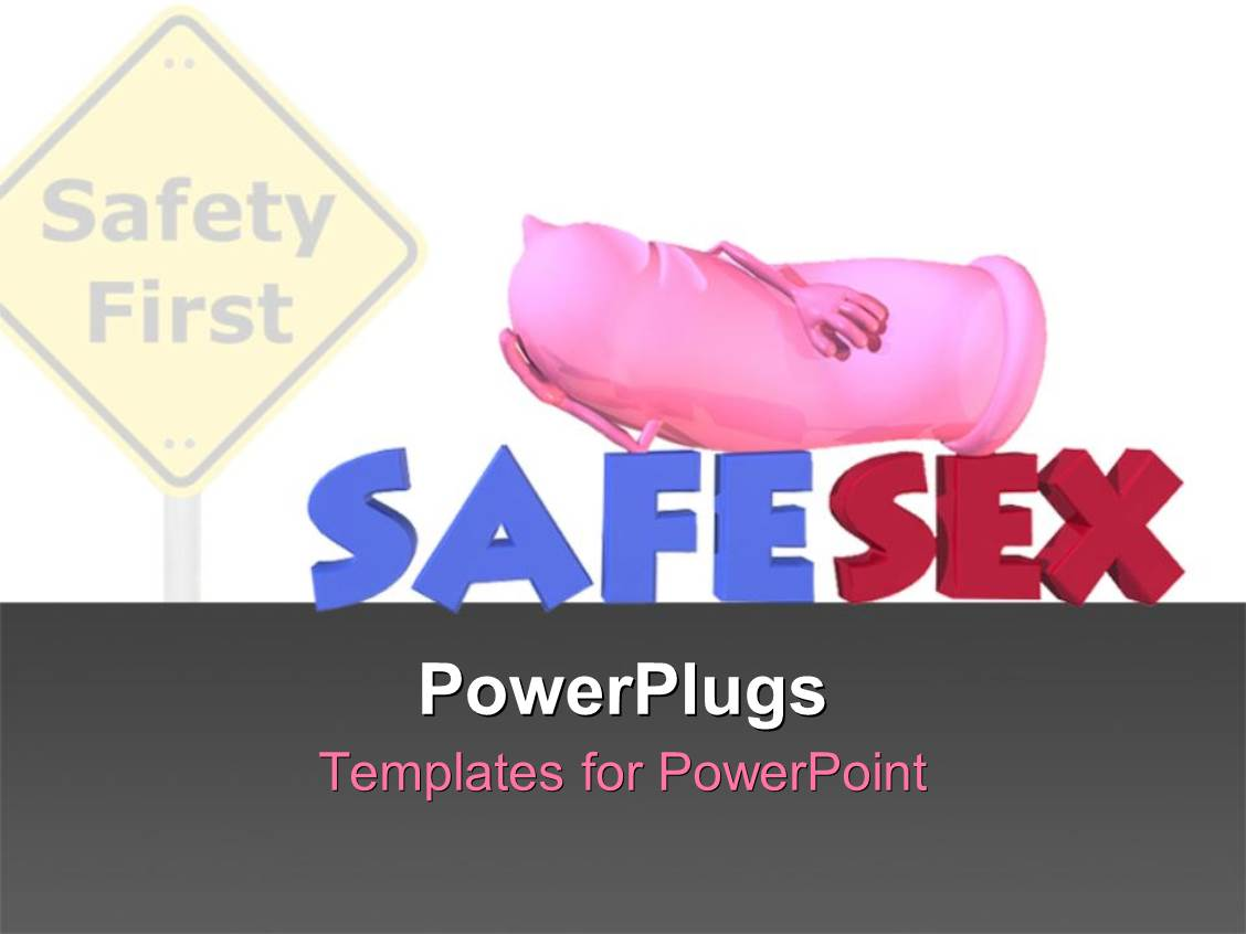 PowerPoint Template Displaying Road Sign Reads Safety First withPink Colored Condom Advocating Safe Sex