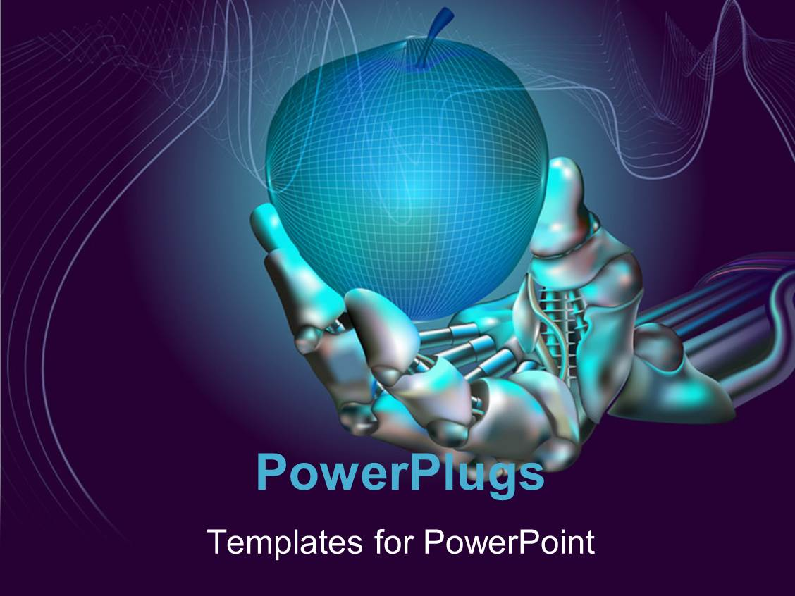 Powerpoint template robot hand holds neon apple symbolizing new powerpoint template displaying robot hand holds neon apple symbolizing new technologies toneelgroepblik Images