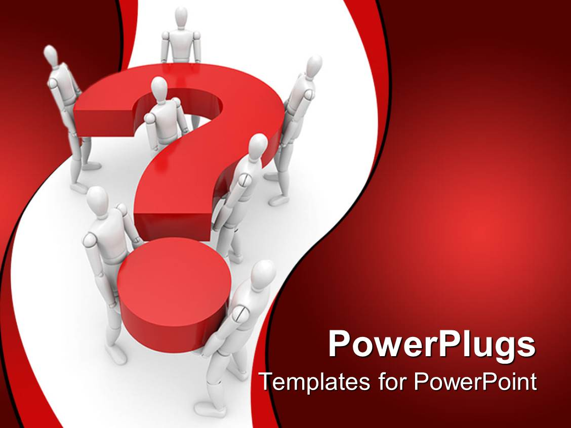 powerpoint questions and answers template - powerpoint template robots carrying 3d question mark