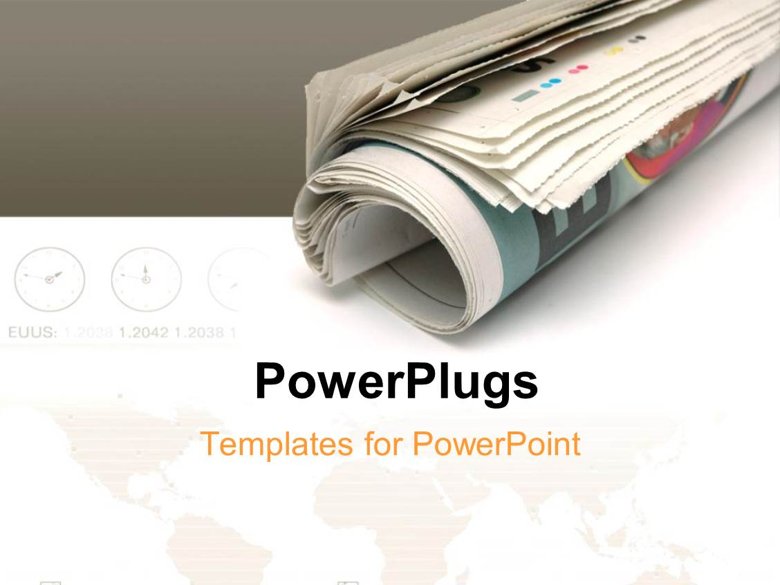 PowerPoint Template roll of newspaper over white and grey – Newspaper Powerpoint Template
