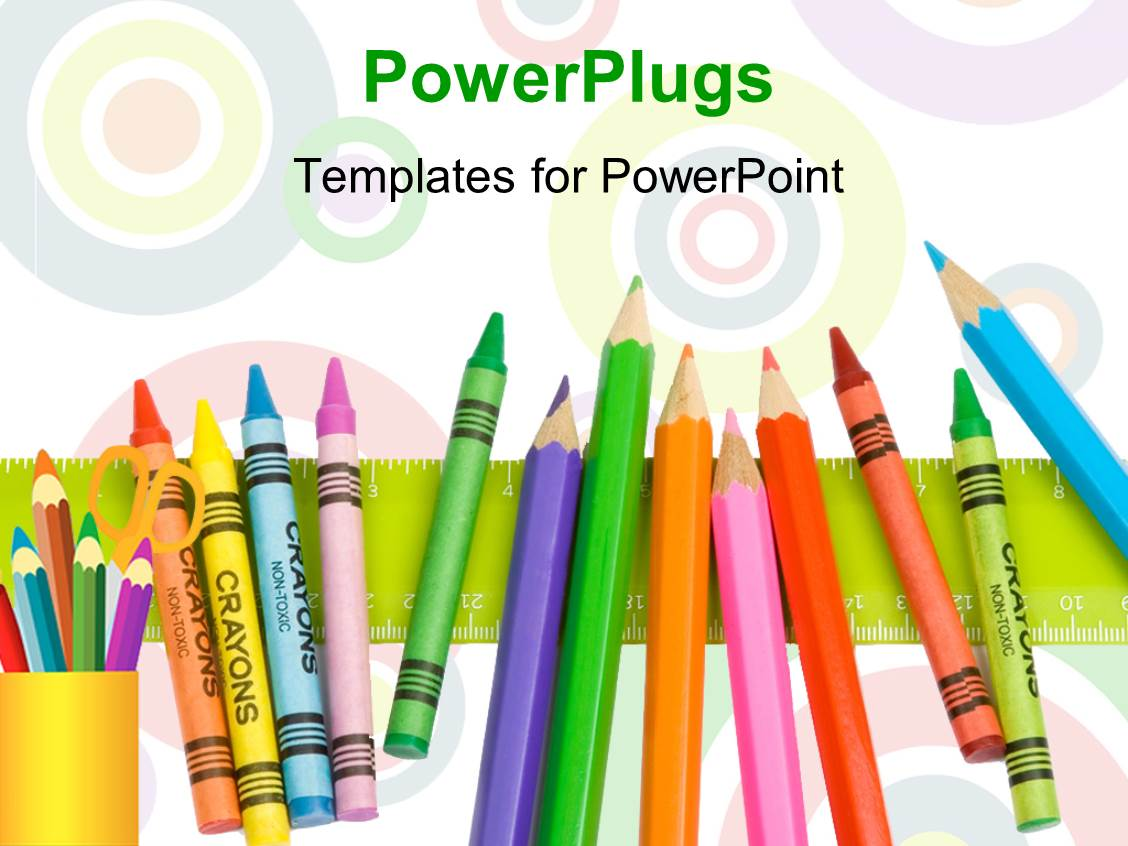 Powerpoint template row of colorful crayons on green ruler with powerpoint template displaying row of colorful crayons on green ruler with circles in background toneelgroepblik Images