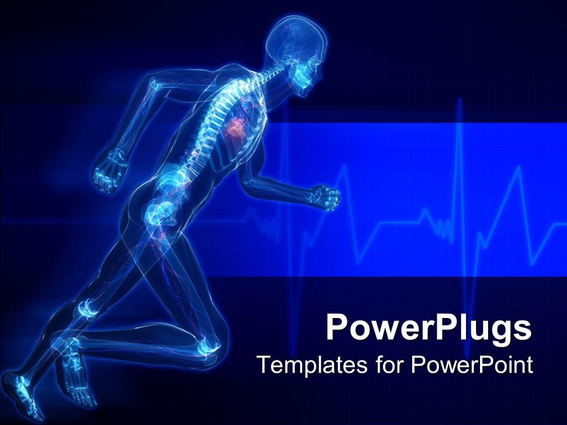 Powerpoint template running man with skeleton x ray visible in powerpoint template displaying running man with skeleton x ray visible in blue background toneelgroepblik Choice Image