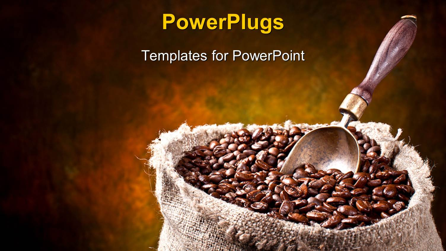 powerpoint template: a number of coffee beans with yellowish, Presentation templates