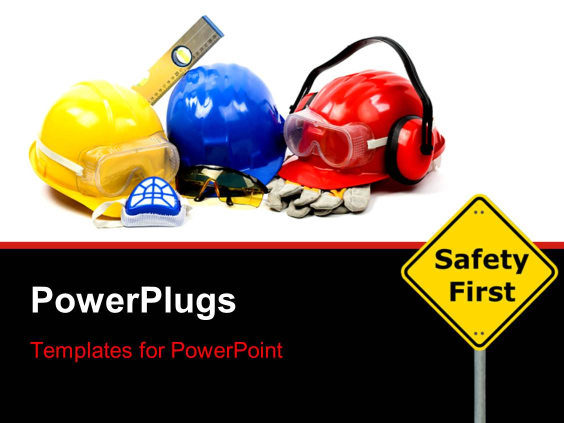 powerpoint template safety gear kit close up with safety