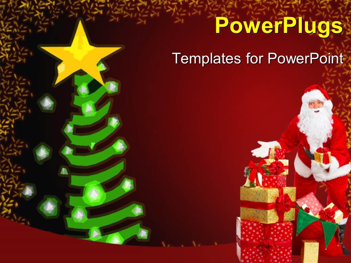 PowerPoint Template: a Santa with a Christmas tree (7028)