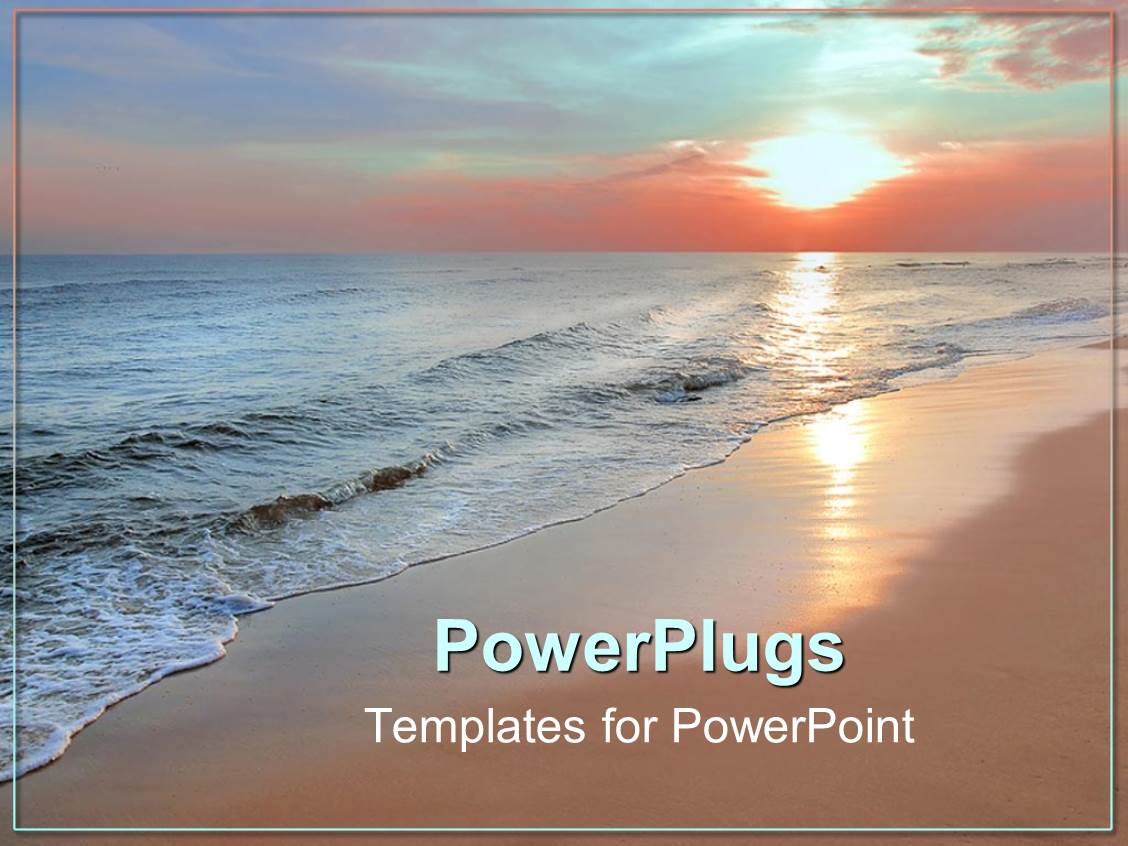 powerpoint template: scenery of beautiful beach with sunset in, Modern powerpoint