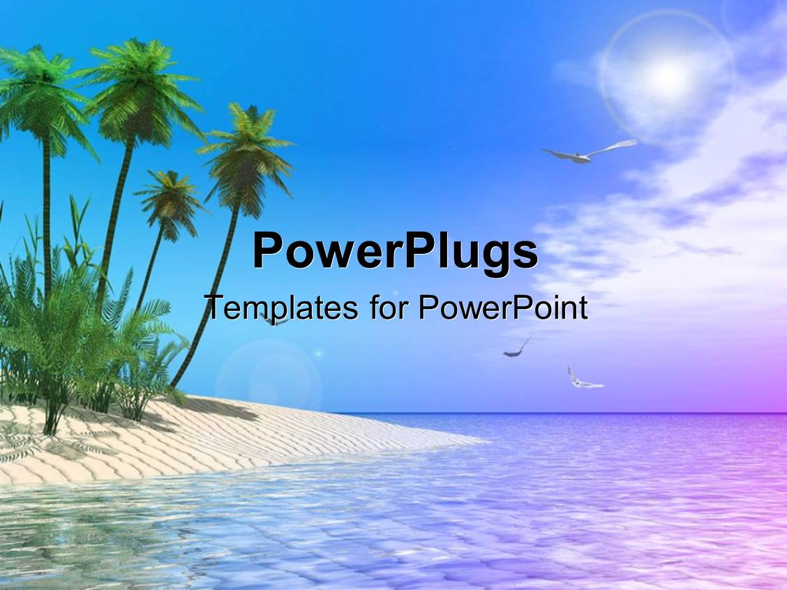 Beach powerpoint templates crystalgraphics powerplugs powerpoint template with scenery of tropical beach with palm trees and birds soaring in toneelgroepblik Choice Image