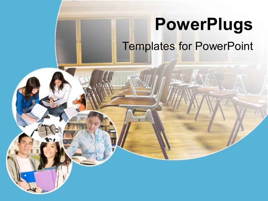powerpoint template: school and education theme with classroom, Modern powerpoint