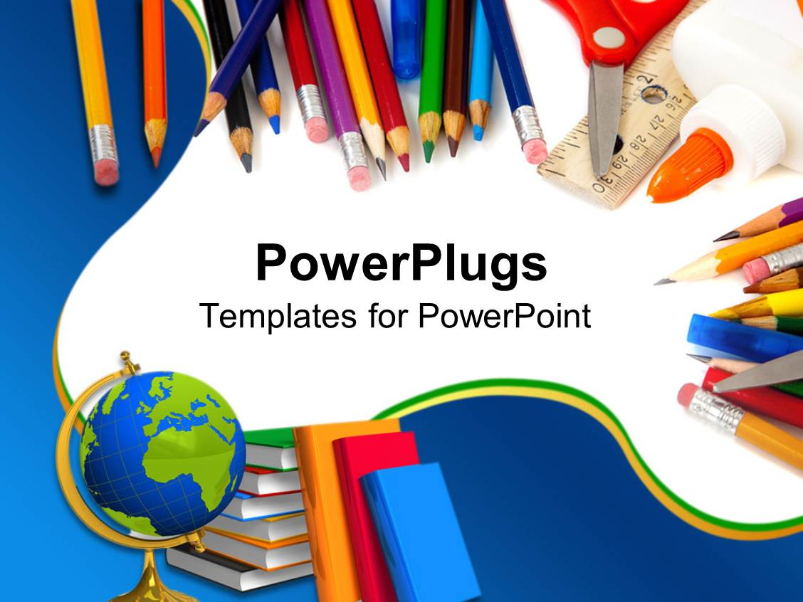 Powerpoint template school supplies with pencils globe books powerpoint template displaying school supplies with pencils globe books glue and scissors toneelgroepblik Choice Image