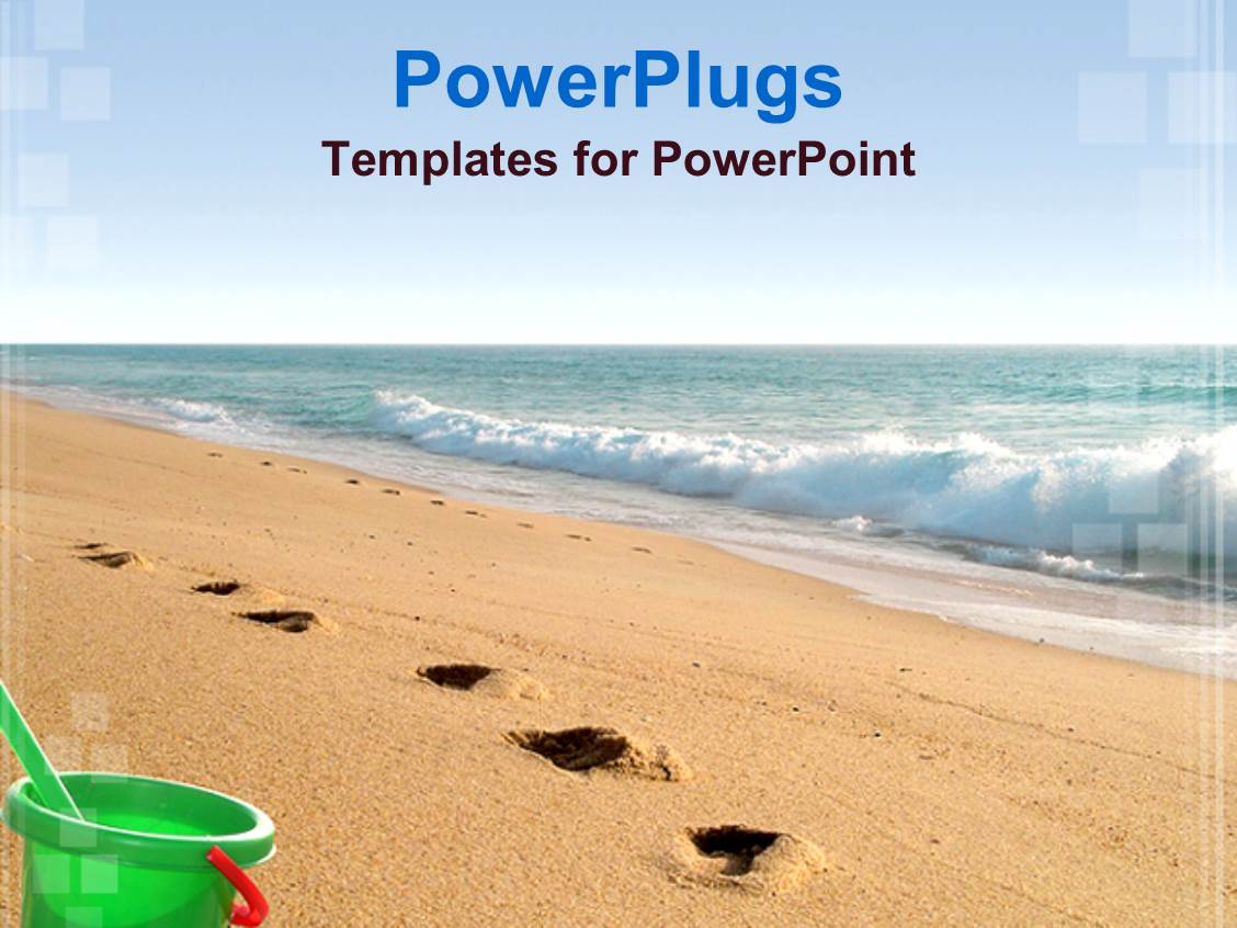 Beach powerpoint templates crystalgraphics audience pleasing ppt theme featuring sea water and sandy beach with footprints and green bucket template size toneelgroepblik Gallery