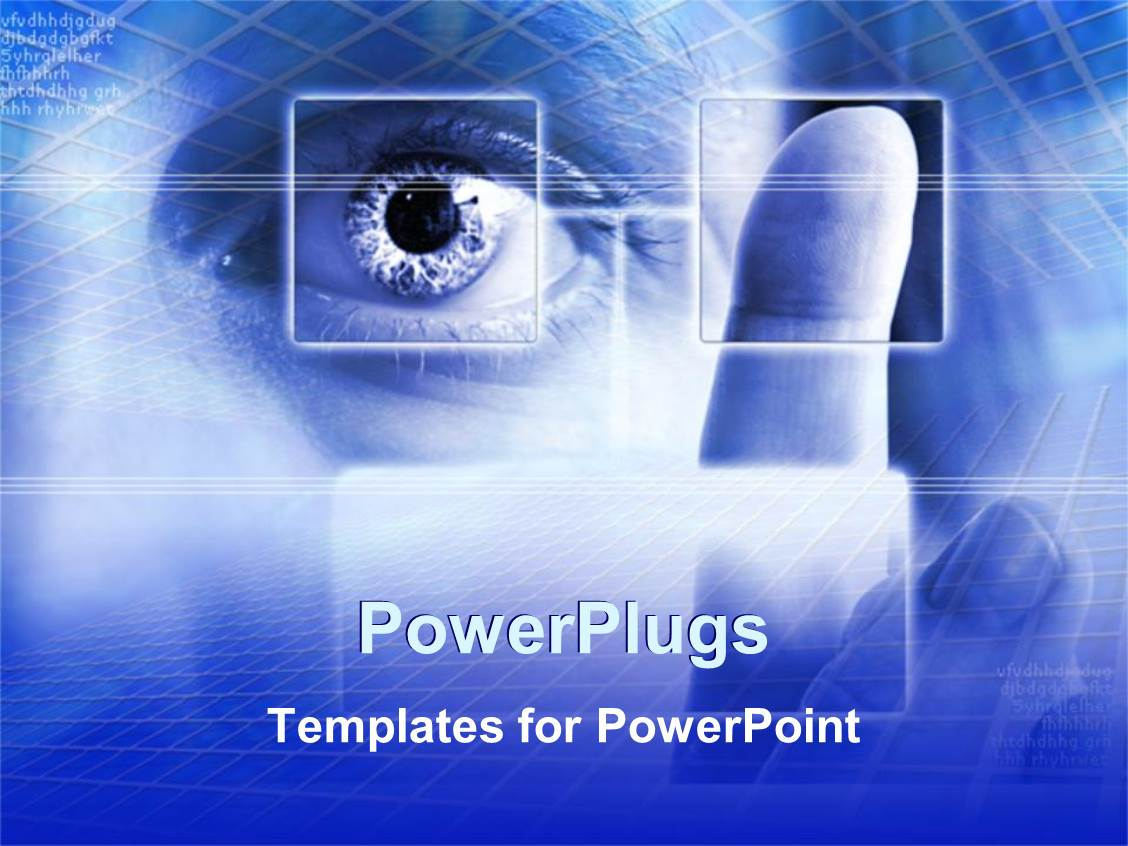 Security powerpoint templates crystalgraphics audience pleasing presentation theme featuring security theme with fingerprint scan and eye scan on blue security toneelgroepblik Image collections