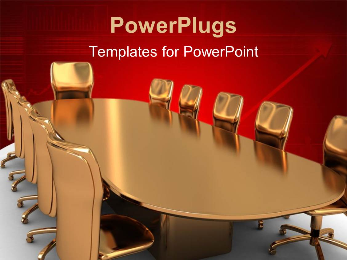 powerpoint template a set of brown gold colored meeting chairs and a table 20311. Black Bedroom Furniture Sets. Home Design Ideas