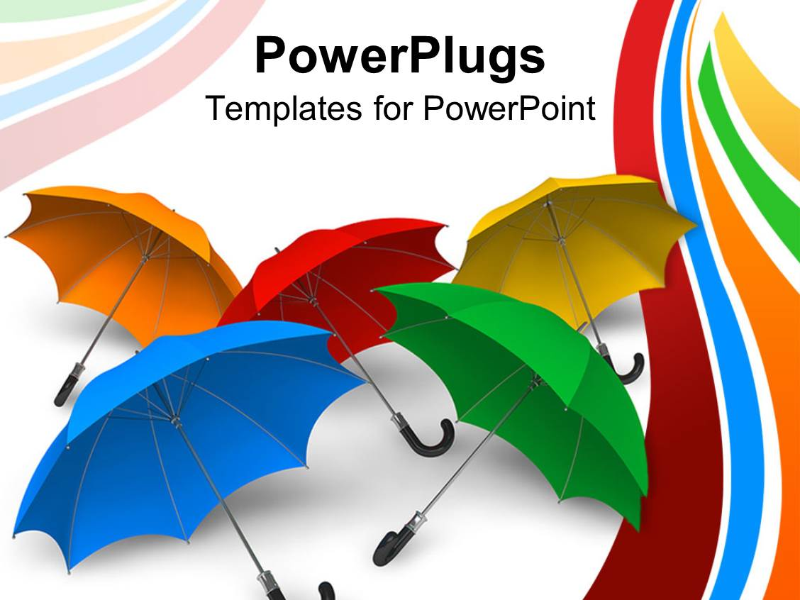 Powerpoint template a number of umbrellas with a green ambrella slide deck enhanced with set of colorful umbrellas displayed on white background toneelgroepblik Choice Image