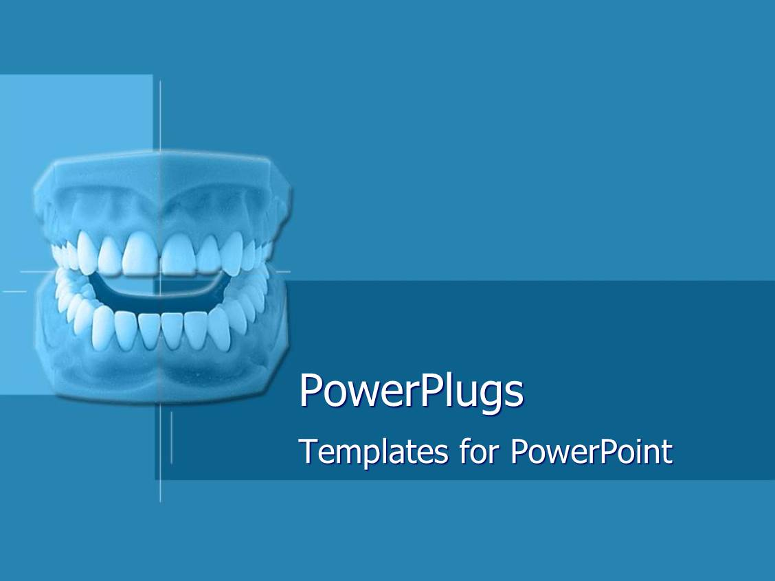 Powerpoint template set of dentures on blue geometric for Power plugs powerpoint templates