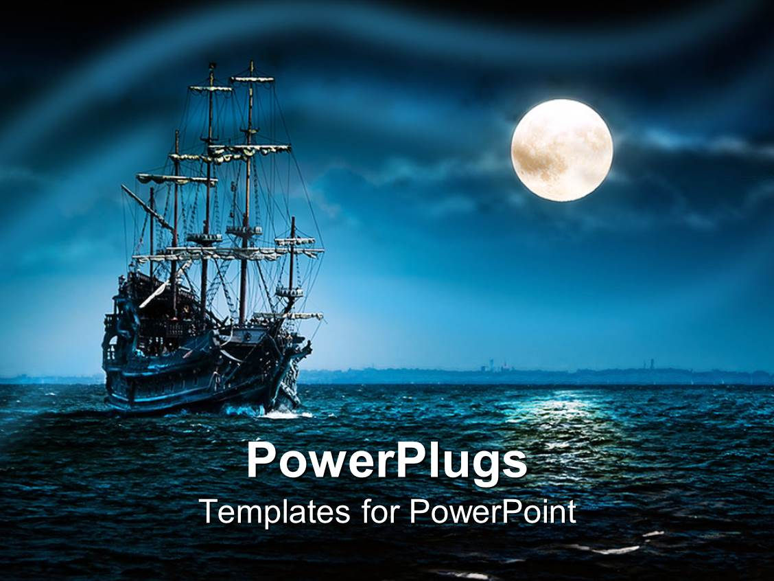 Powerpoint template a ship of pirates in a sea with moon shining powerpoint template displaying a ship of pirates in a sea with moon shining on the side toneelgroepblik Choice Image