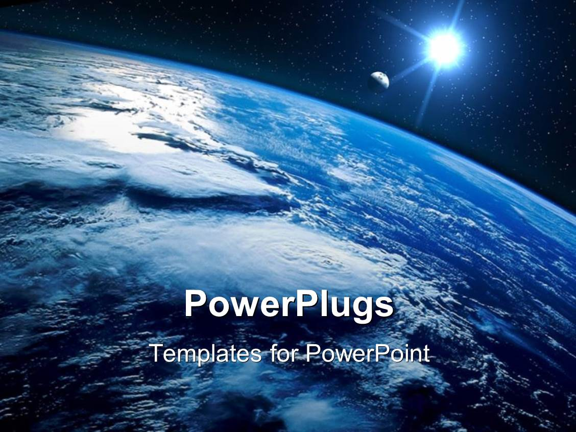 powerpoint template  sight of earth from the space and